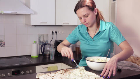 Preparation of pita bread for filling from greenery and cheese Live Action