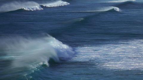 Large foamy waves rolling on stormy ocean Stock Video Footage