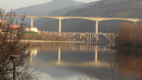 Bridges crossing Douro river in Portugal Stock Video Footage