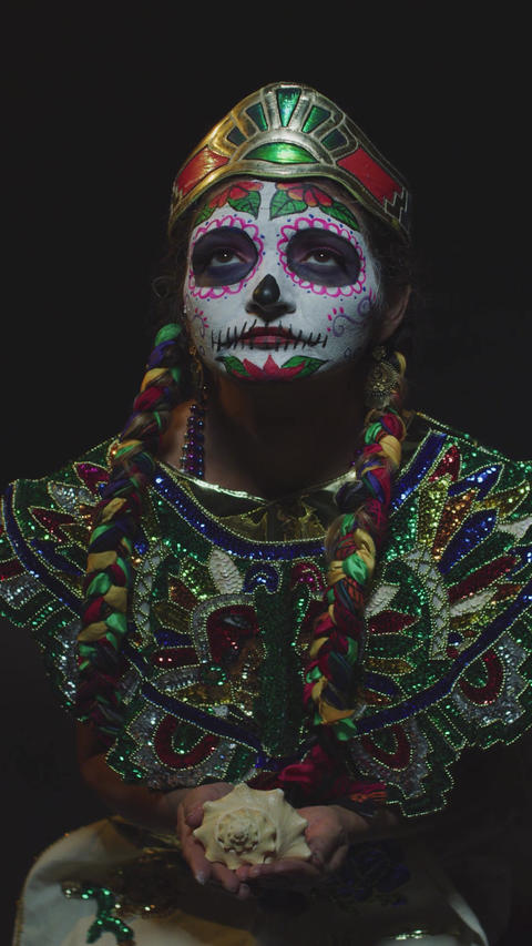 Mexican day of the dead Aztec Offering Live Action
