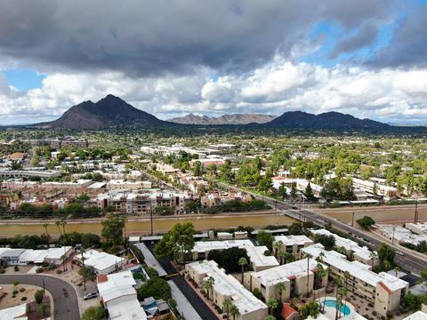 Aerial view of Scottsdale desert city in Arizona east of state capital Phoenix Photo