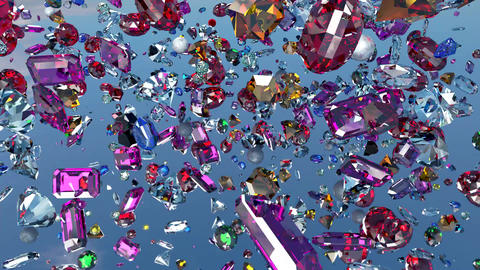 Falling crystals on a mirror surface Animation
