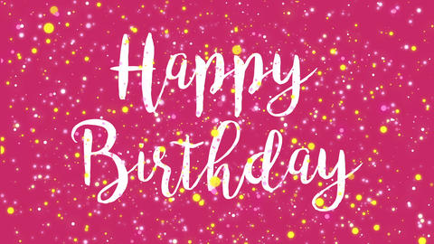 Animated colorful pink Happy Birthday greeting card Animation
