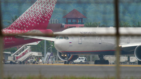 Airplane taxiing before departure GIF