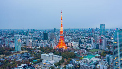 Tokyo tower and building in Tokyo City, Japan Live Action