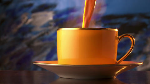 steaming hot tea poured into an expensive yellow cup and saucer Live Action