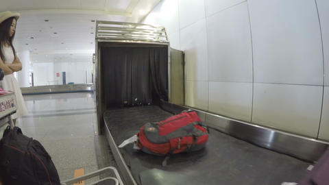 XI'AN, CHINA - MAY 17, 2018: Baggage moving on blet at the airport.,China Live Action