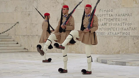Evzones at the Tomb of the Unknown Soldier. Slow Motion Live Action