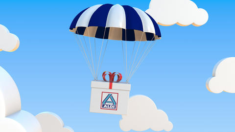 ALDI logo on moving box moves under parachute. Editorial loopable 3D animation Live Action