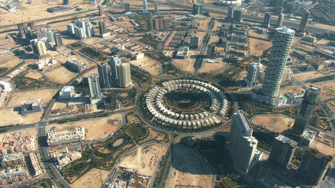 Aerial view of Jumeirah Village Circle, a community in Dubai, United Arab Live Action