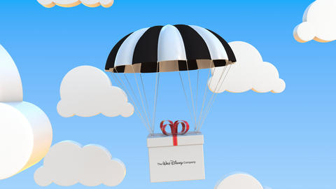 THE WALT DISNEY COMPANY logo on moving box moves under parachute. Editorial Live Action