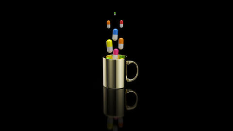 Concept of a hot cup of coffee with pills Animation