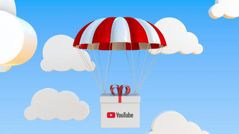 YOUTUBE logo on moving box moves under parachute. Editorial loopable 3D Live Action