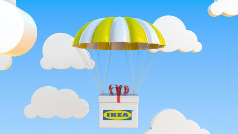 IKEA logo on moving box moves under parachute. Editorial loopable 3D animation Live Action