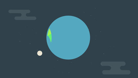 Flat Earth Animation of graphic with moon and communication satellite 애니메이션