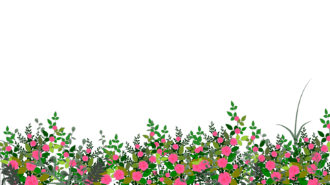 Seamless Flower Garden Moving in the Wind in a Transparent Alpha Channel in Loop Animation