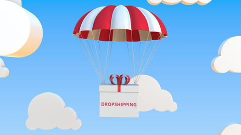 Box with DROPSHIPPING text falls with a parachute. Loopable conceptual 3D Live Action
