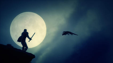 Dragon Slayer Knight Looking at a Dragon Flying in a Sky in Medieval Fantasy Live Action