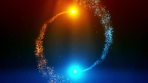 Blue Orange Particles Spiral Circles with Trail Intro Logo Background Animation