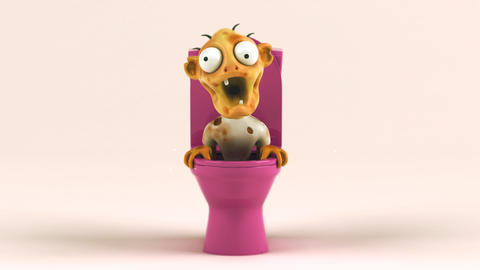 Fun 3D cartoon zombie in the toilets Animation