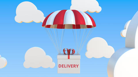 Box with DELIVERY text falls with a parachute. Loopable conceptual 3D animation Live Action