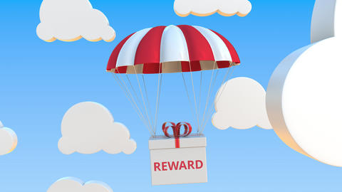 Box with REWARD text falls with a parachute. Loopable conceptual 3D animation Live Action