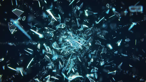 Broken Glass Exploding Against Black Background in 4K Animation