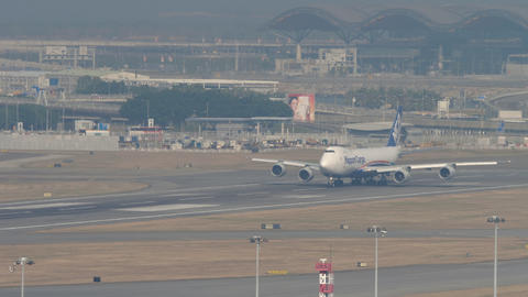 Nippon Cargo boeing 747 departure from Hong Kong GIF
