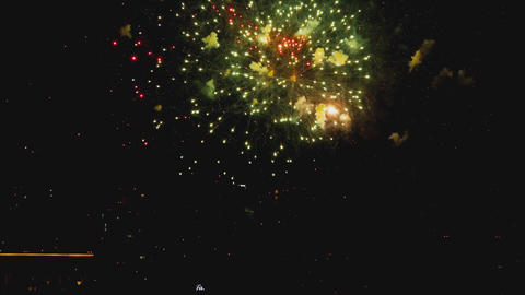 Colorful of fireworks at City day festival Live Action