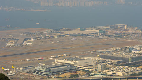 Aerial view at Chek Lap Kok airport, timelapse GIF