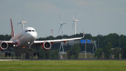 EasyJet Airbus A320 landing GIF