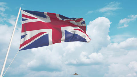 Plane arrives to airport with flag of the United Kingdom. British tourism Live Action
