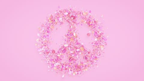 Exploding peace symbol with rose petals in 4K GIF