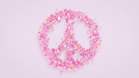 Exploding peace symbol with rose petals in 4K Stock Video Footage