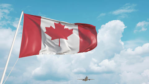 Airliner approaches the Canadian flag. Tourism in Canada Live Action