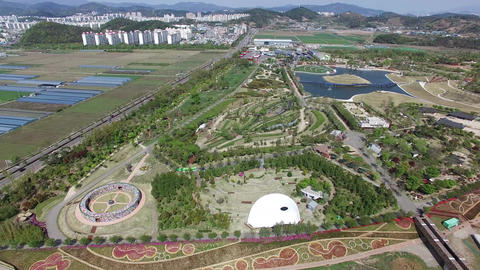 Aerial View of Suncheonman Bay National Garden, Suncheon, Jeonnam, South Korea Live Action