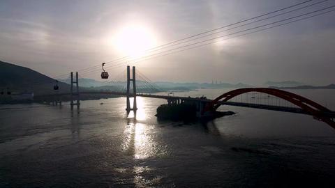 Aerial View of Sacheon Cable Car at Sunrise, Sacheon, Gyeongnam, South Korea GIF