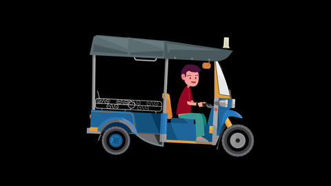 Cartoon tuk tuk with driver animation alpha channel.Funny cartoon animation Thailand with Tuk-tuk Animation