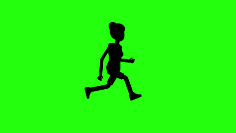 silhouette of woman running on green background Animation