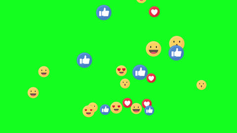 Social meadia emotion icons pop up animation on green screen.Like and heart icons pop up Animation