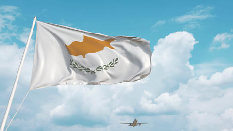 Airliner approaches the Cypriot national flag. Tourism in Cyprus Live Action