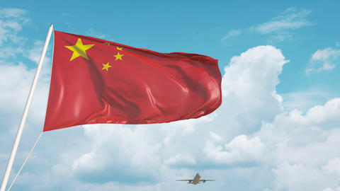 Airliner approaches the Chinese flag. Tourism in China Live Action