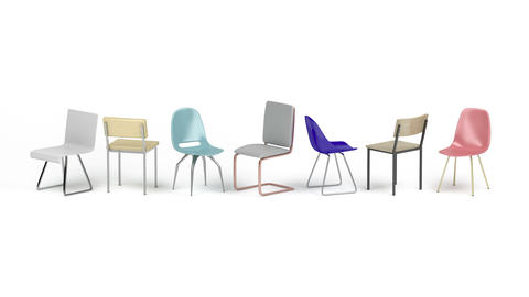 Different chairs on white background Animation