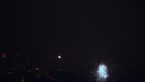 Firework Over a Night City on a Celebration Live Action