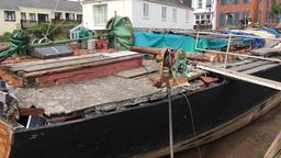 Vigilant Thames barge restoration Topsham Devon U Footage