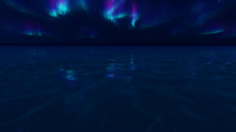 Northern lights ocean on light background. Winter night landscape, northern Live Action
