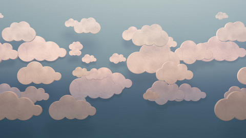 3d white clouds moving horizontally on a blue sky wall flat style background loop Animation