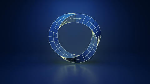 Twisted blue ring sci-fi shape loopable 3D render animation Animation