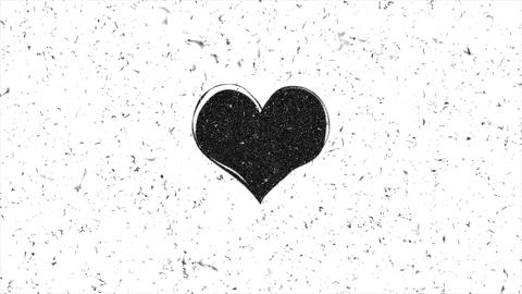 Grungy heart shape is beating seamless loop animation Animation