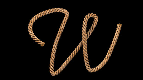 3d animated rope text typeface with separate alpha channel W CG動画